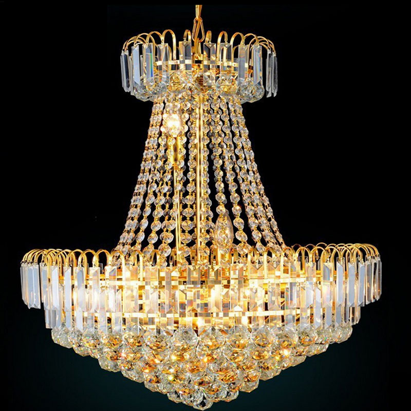 Modern Fashion LED Royal Empire Golden Crystal Chandeliers French Art Lights Luxury Decoration Ceiling Lamps Lighting