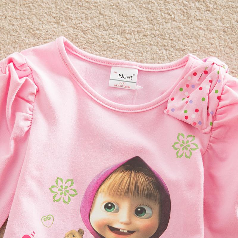 2017 Baby girl clothes Children Dress pattern cotton girl dress summer dress casual lovely pink cartoon kids dress for girl