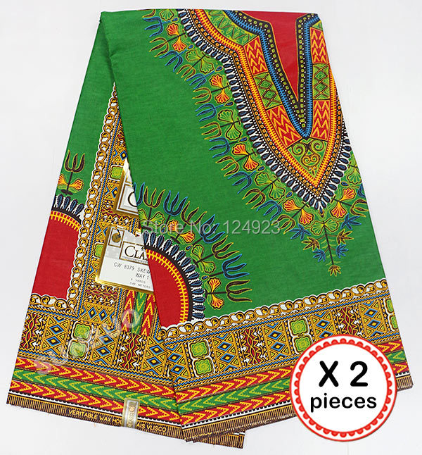 2 X 6 Yards 100% Cotton African wax prints fabric Ankara wax fabric high quality 668-2 green