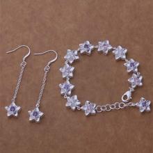 WT128 Elegant Romantic Jasmine Jewelry Set Dangle Earrings Bracelet Piercing 925 Sterling Silver Fashion Crystal Wedding Jewelry(China (Mainland))