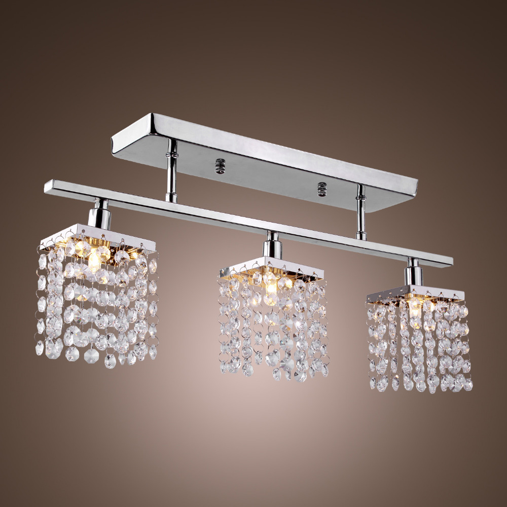 3 Light Hanging Crystal Linear With Solid Metal Fixture