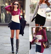 2015 Fashion Women Casual Long Sleeve Knit Jumper Sweater Tops Pullover Dress Size 6 8 10 12 14(China (Mainland))