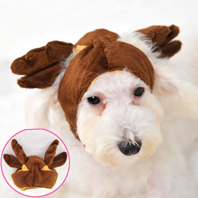 Pet Hat Hot Sale 100% Cotton Animal 2015 New Winter Fashion Pet Dog for Cat Hat Elk Shapeshift Autumn And for Products(China (Mainland))
