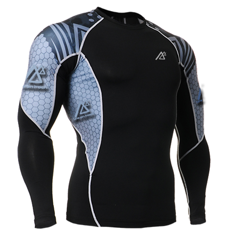 Life On Track Fashion Muscle Man s Gear Long Sleeves Tight Compression T Shirts Training Running