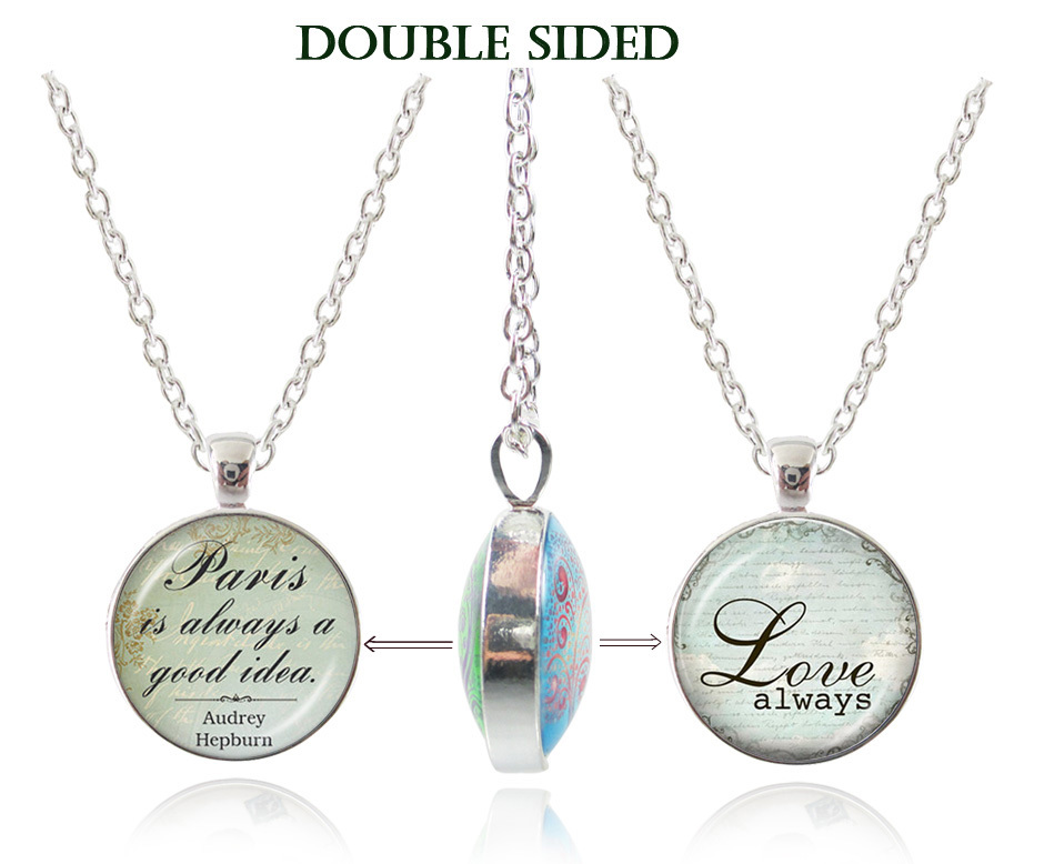 Handmade pendant necklace love always necklace Paris letter jewelry inspired word choker chain necklaces double sided pendants(China (Mainland))