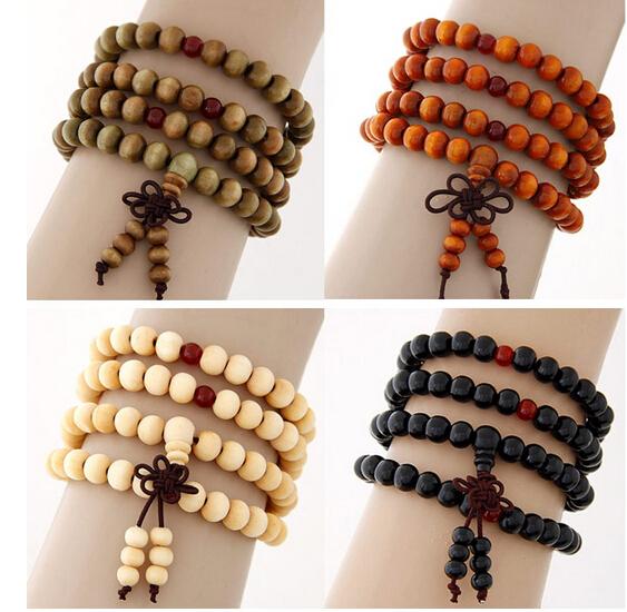 Pulseiras Pulseras Mujer Wood Bead Buddha Wrap Bracelets Men Women 2015 Multilayer Bracelet & Bangle Malas Strand Tibet Jewelry(China (Mainland))