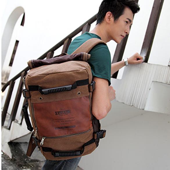 Men Multipurpose Canvas Large Shoulder Bag Backpack Dark Khaki<br><br>Aliexpress