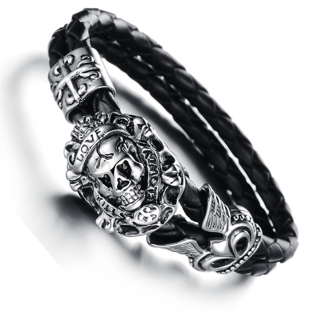 11skull bracelets titanium steel leather jewelry City boy to wear men's leather bracelet PH845(China (Mainland))