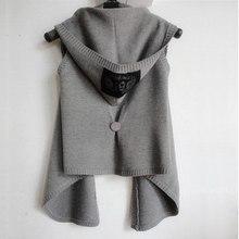 2016 New Autumn Winter Women Vest with hood knitted woman vest sweater cardigan cape sleeveless outerwear black,light dark grey(China (Mainland))