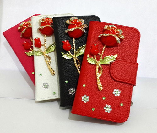 Bling Diamonds Rose Wallet Card Holder PU Leather Flip Case Cover For NOKIA E72(China (Mainland))