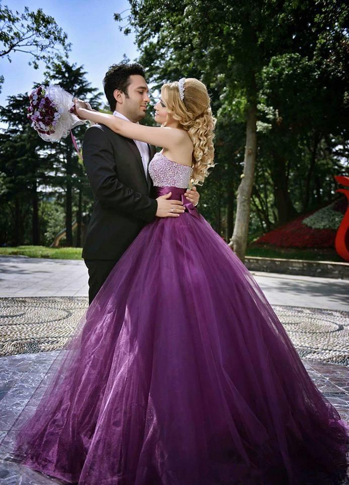 Pictures Of Purple Wedding Gowns Dark purple wedding dress with