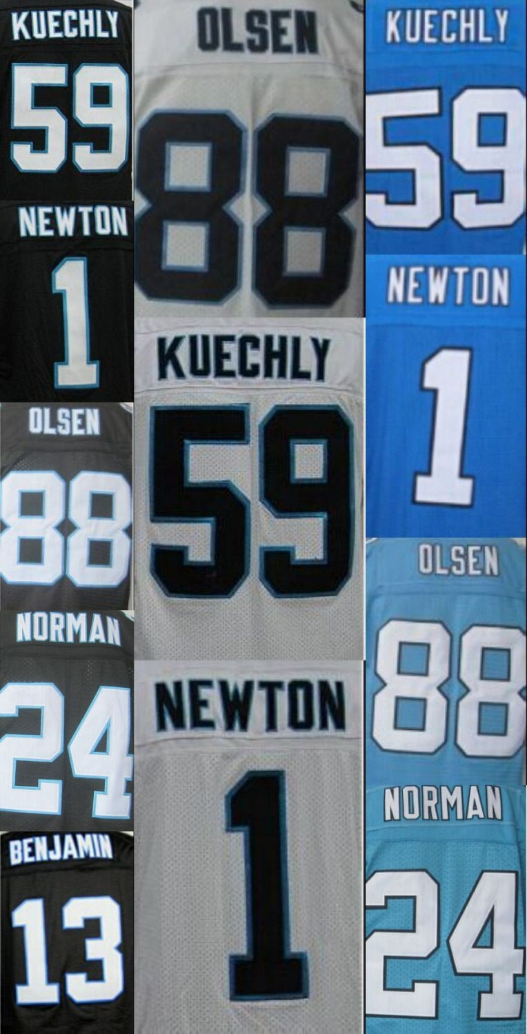 Men's #1 Cam Newton Jersey 24 Josh Norman 59 Luke Kuechly 88 Greg Olsen Stitiched Embroidery Black White Blue Jerseys size M-3XL(China (Mainland))