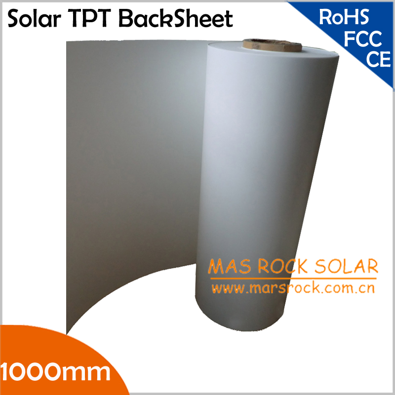 50meter/Lot Wholesale Solar PV Back Sheet, 1000mm Width 0.3mm Thickness, Solar Panel Encapsulation Film, Solar TPT Back Sheet(China (Mainland))