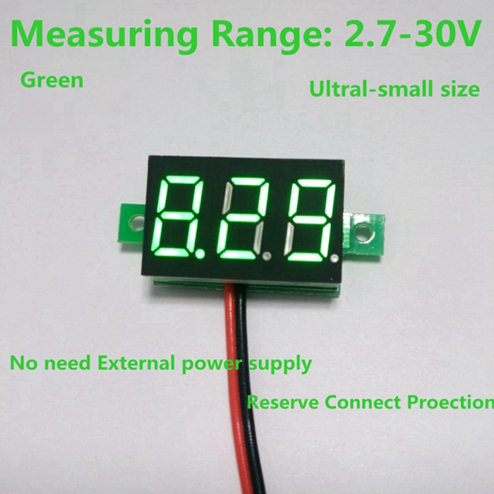 1PCS Free Shipping DC 2.7-30V 2 wire Green LED digital Car Voltmeter dc voltage volt panel meter gauge battery monitor(China (Mainland))
