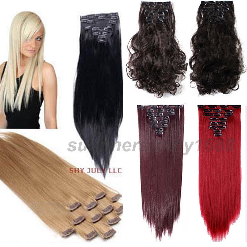 Prezzo più basso 100% naturale estensioni dei capelli clip in on hair extensions testa completa 18 clip 66 cm capelli lisci 8 pezzo cosplay(China (Mainland))