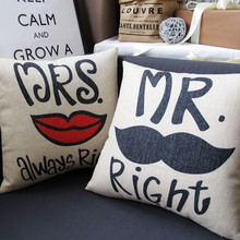 Mr.Mrs.Right bearded lips couple cotton pillowcase