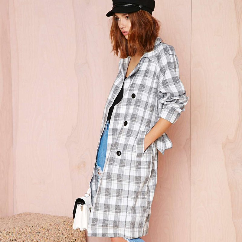 2014 new Autumn winter British Vintage double-breasted gray white squares trench coat women XS-XXL - Odie's store