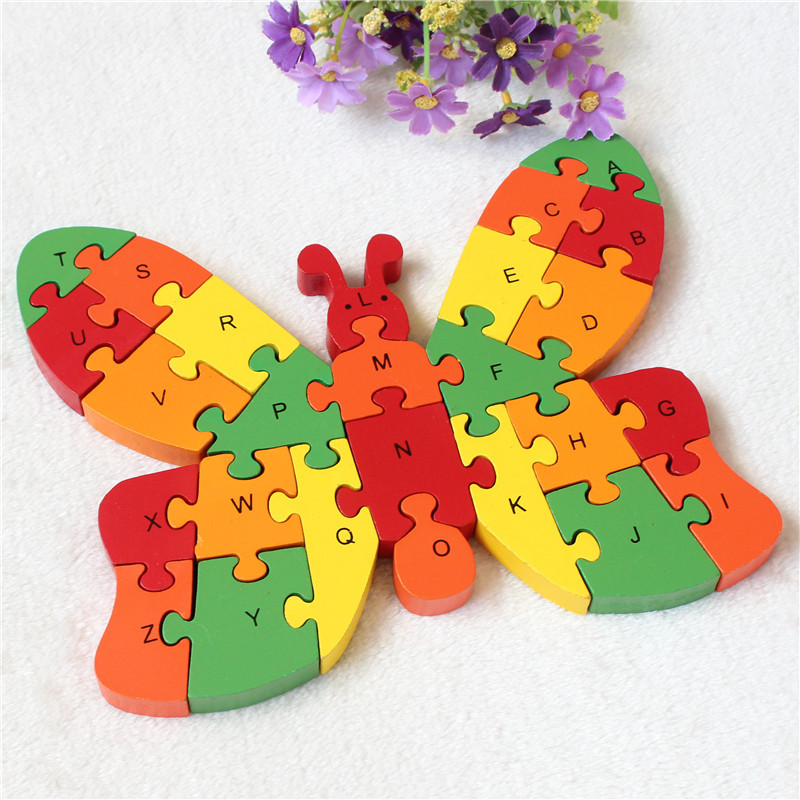 26 English letters digital cognitive wooden jigsaw puzzle pieces of rocket puzzles children's toys puzzle puzzle(China (Mainland))