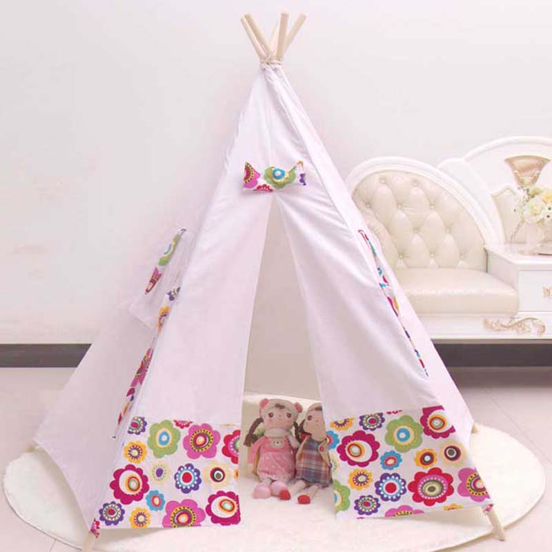 100 cotton teepee kid tent fabric houses to play kids. Black Bedroom Furniture Sets. Home Design Ideas