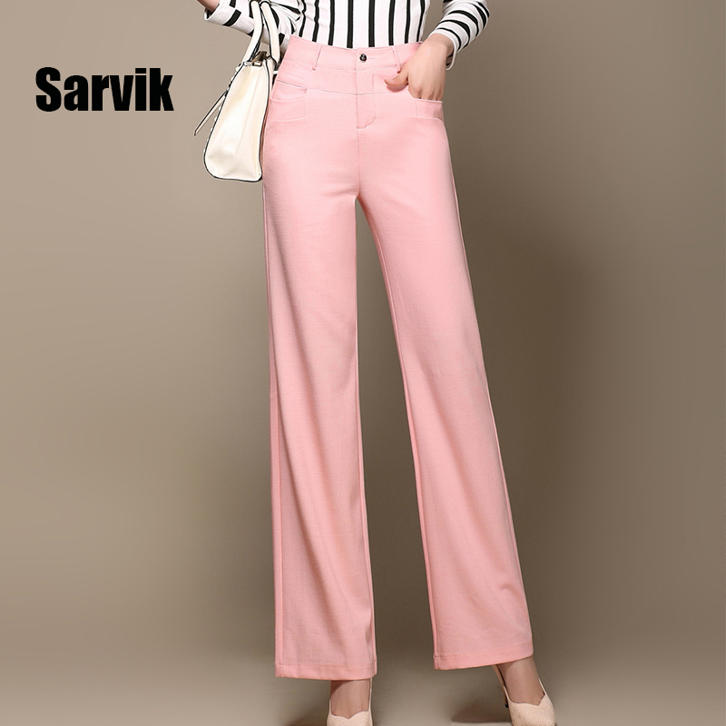 Sarvik 2016 New Women Linen Pants Long Formal Loose Office Work Straight Trousers Female Black White Pink Ladies Wide Leg PantsОдежда и ак�е��уары<br><br><br>Aliexpress