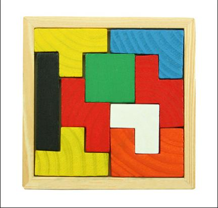 Wooden Tangram Brain Teaser Puzzle Tetris Game Educational Baby Child Kid Toy for chileren Free Shipping S1(China (Mainland))