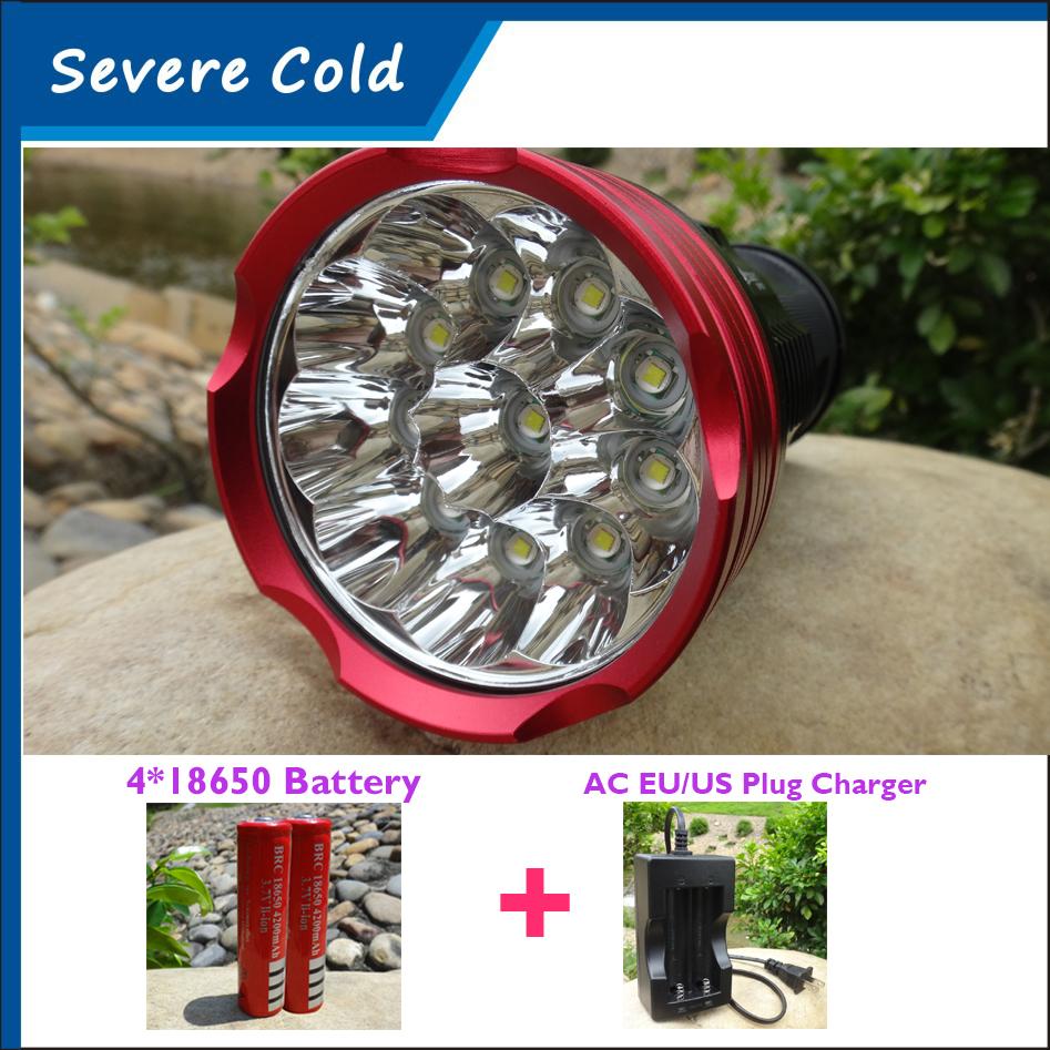 20000 Lumens Light King LED Flash Lamp 10 x CREE XM-L T6 LED Hunting Camping Flashlight Torch Lamp Light Torch+4*18650 Battery(China (Mainland))