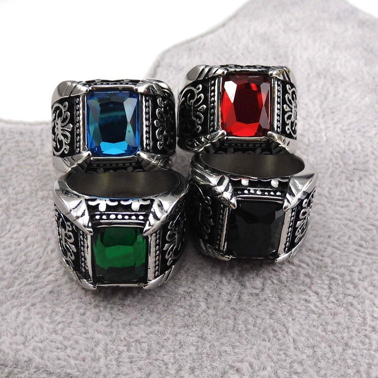 Men Women Crystal Zirconia Rings Silver 18K Gold Stainless Steel Big Square Sapphire Ruby Red Black Stone Finger Rings Jewelry(China (Mainland))