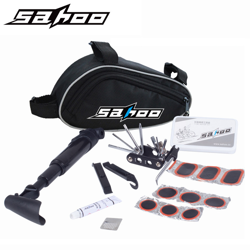 SAHOO 15 in 1 kit functions Cycling Bicycle mountain bike Tools Repair Kit Set with Pouch Pump(China (Mainland))