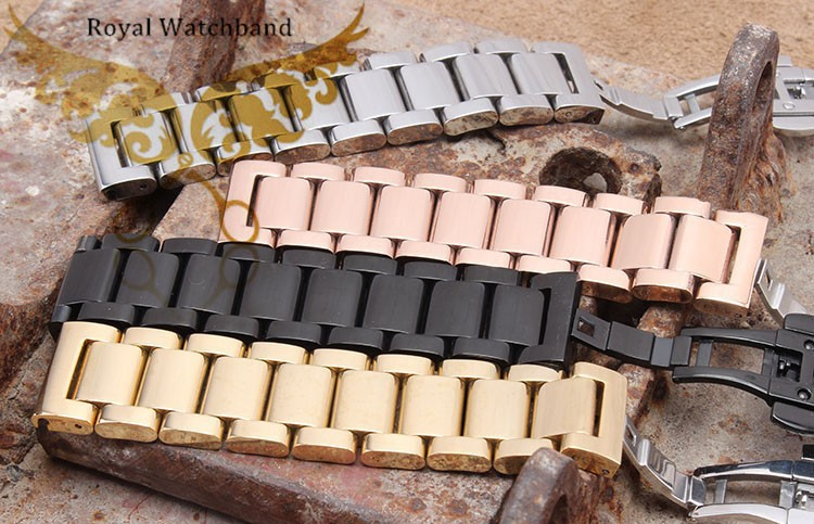 18 мм 20 мм 22 мм 24 мм серебро часы из нержавеющей стали двойной нажмите пряжки / фермуаров ремешок браслет для часы бесплатная доставка