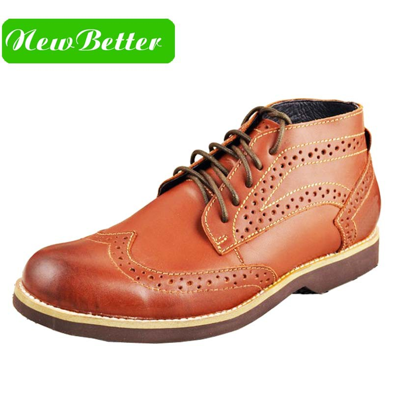 Genuine leather boots men dress shoes platform brown brogues ankle boots lace up oxfords shoes men leather shoes(China (Mainland))