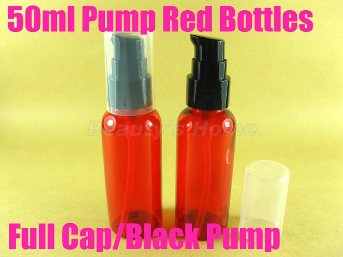 50ml pump Cap Red bottle comestic make container small/empty bottles #2058 - Packing Supplier(Bottles and Jars store)