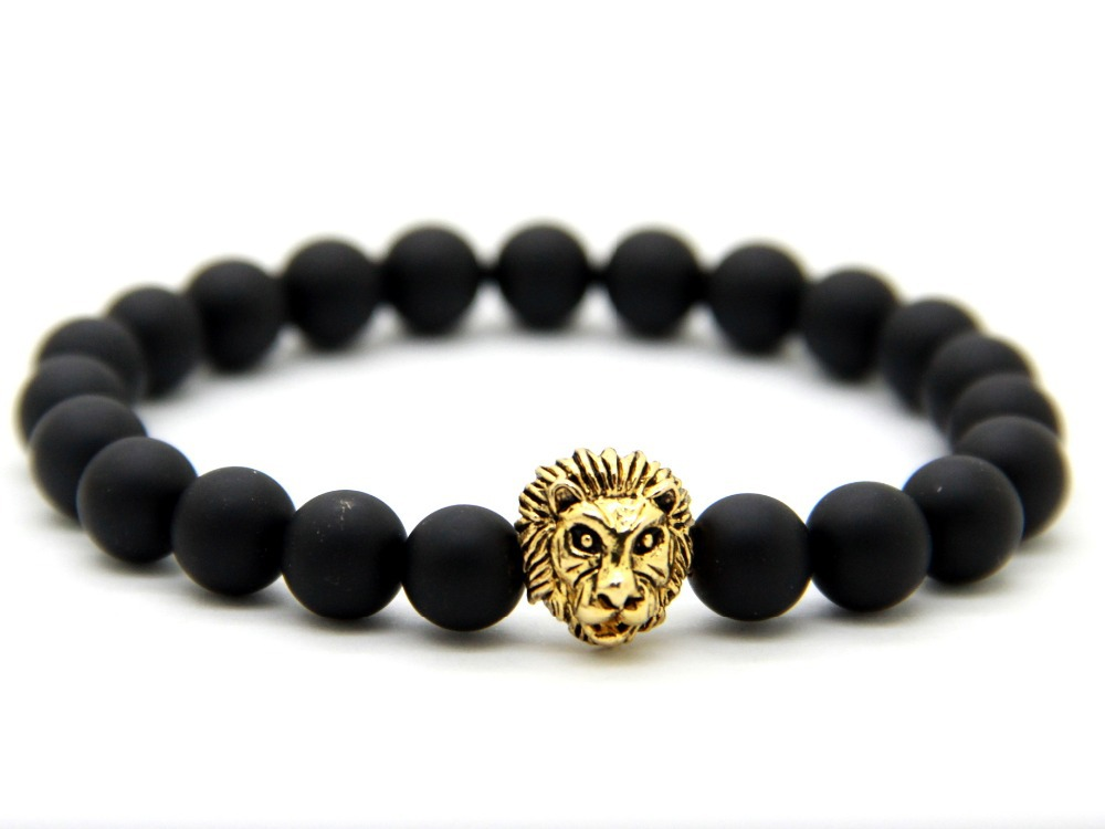 2015 New Design Men's Bracelets, Made by 8mm Matte Agate Stone Beads With Antique Gold, Silver and Rose Gold Lion Head Bracelets(China (Mainland))