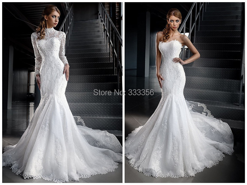 new arrival 2 in 1 gorgeous lace wedding dress the sleeves could be