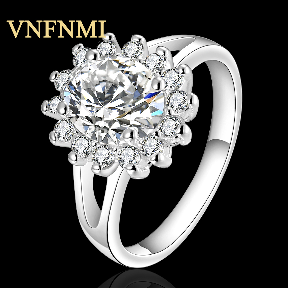 1Pc 925 Stering Silver AAA Cubic Zirconia Beautiful White Sunflowers Ring Size 7/8 Women Bridal Wedding Silver Plated Jewelry(China (Mainland))