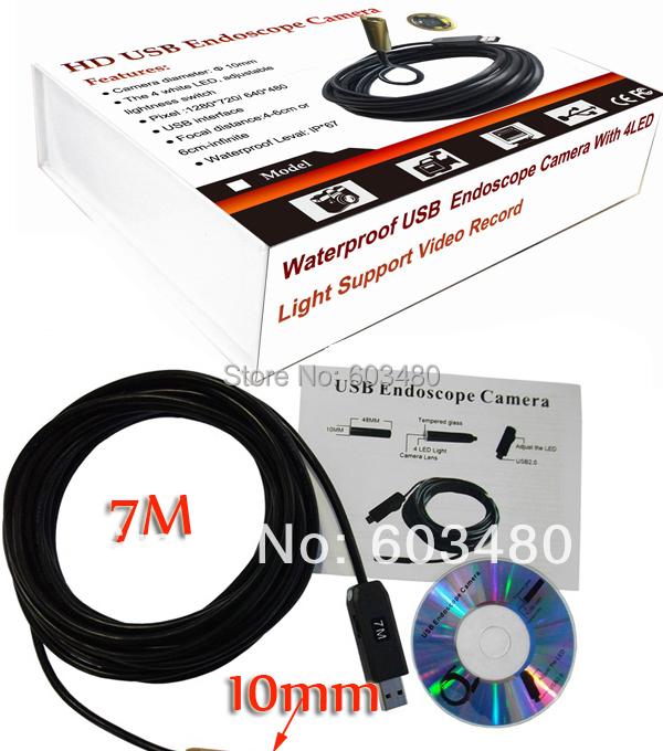 20pcs DHL Free Ship 7m Inspection Camera Endoscope USB Tube Snake Waterproof MINI 10MM Camera With 4LED Maintenance Endoscope(China (Mainland))