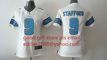 100% stitched women Detroit Lions ladies 9 Matthew Stafford 20 Barry Sanders 81 Calvin Johnson Embroidery Logos size S to XXL(China (Mainland))