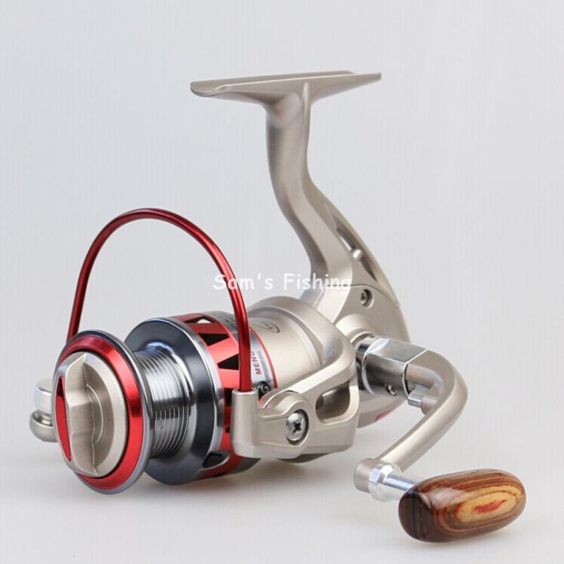 Golden Reel Spinning Fishing Reel Fixed Spool Reel Metal Coil Folding Rocker Arm Wood Handle Fishing