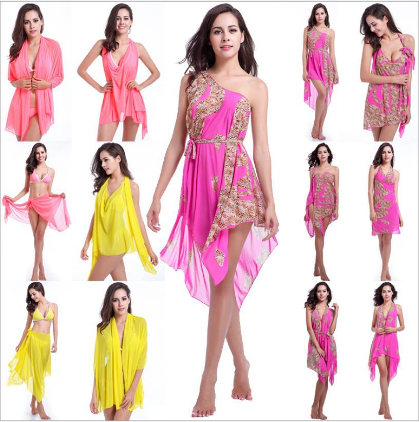 Women Beach Multi Wrap Sarong Dress Bikini Cover Up Dresses Sexy Loose Bikinis Pink Yellow Colors 0179(China (Mainland))