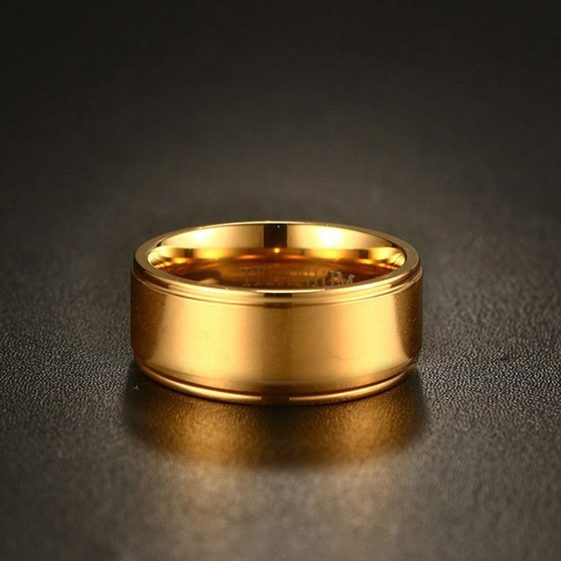 VNOX 100% Titanium Ring for Men  Gold Plated 8MM Wedding Rings Jewelry with Matte US Size 8 to 12
