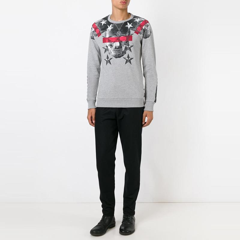 2015 Selling winter & autumn sport pullover brand design printed skull long sleeves man crewneck sweatshirts Color black grey