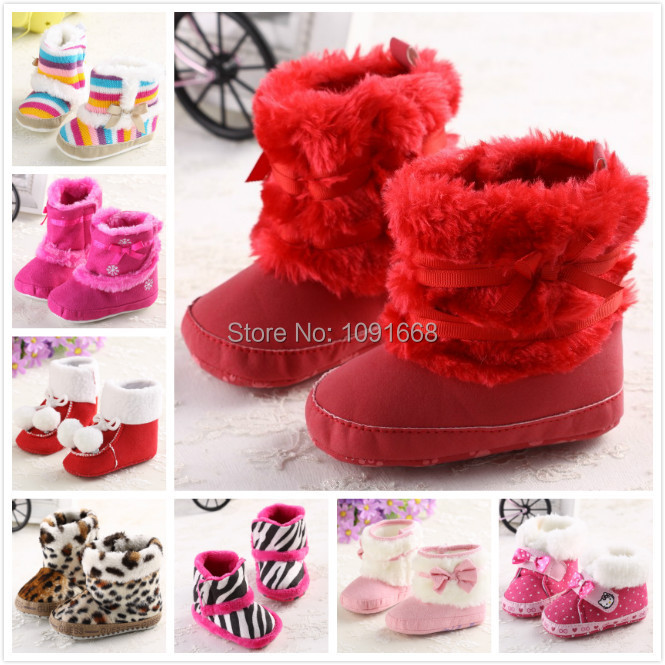 Winter Baby Snow Boots Fur Knitted Wool Thicken Warm Toddler Baby Girl Shoes First Walker Infant Newborn Baby Shoes Footwear(China (Mainland))