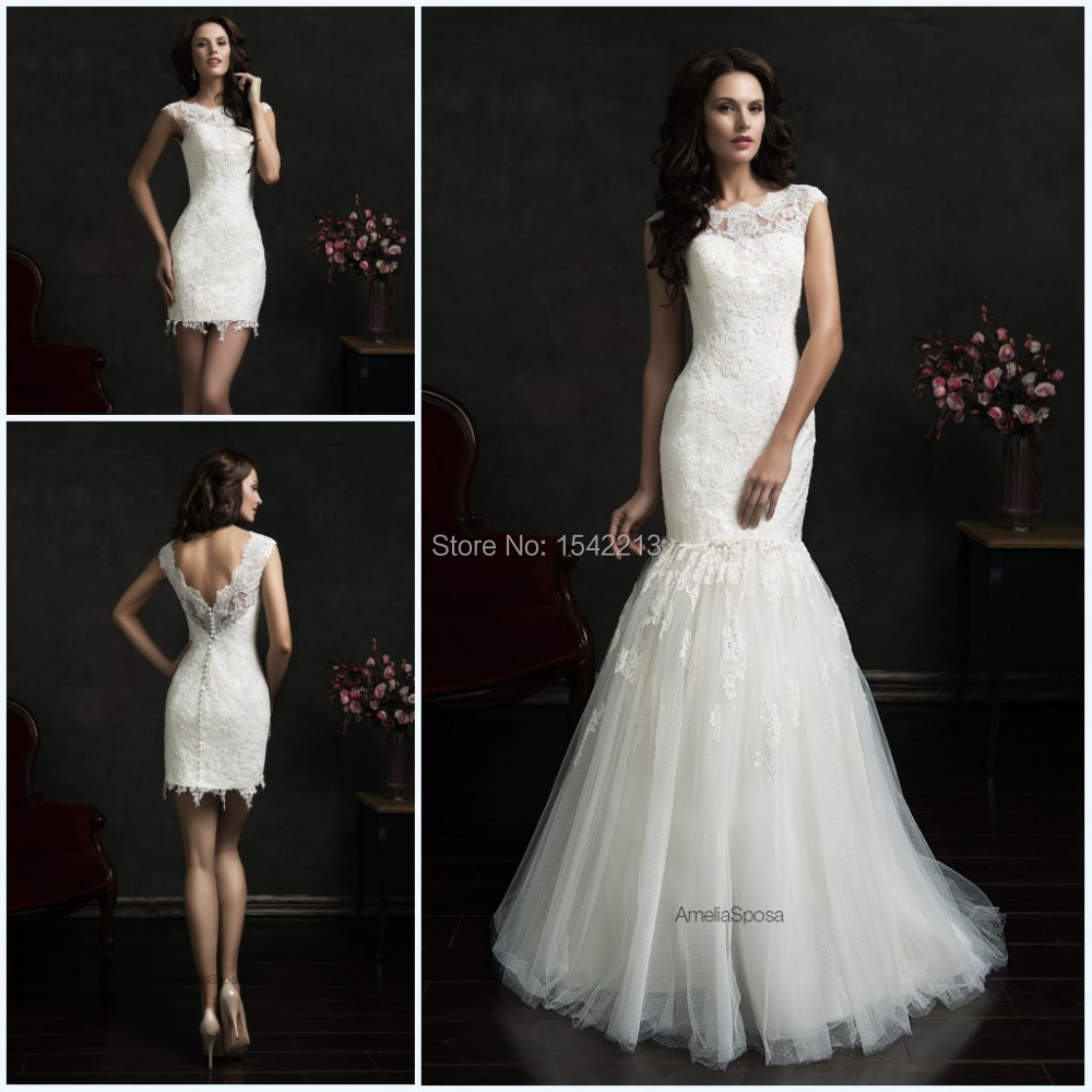 Hot sale two in one wedding dresses mermaid bridal gowns for Free wedding dresses low income