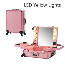 Pink LED Yellow Lighted Makeup Case Professional Rolling Cosmetic Box Station Large Portable Bag for Cosmetics with bulbs(China (Mainland))