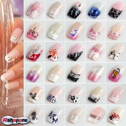 5x 24pcsset new fashion style pre designed french acrylic false nail full tips without glue - Nail Tip Designs Ideas