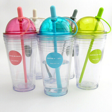 acrylic plastic insulated tumbler/mugs with straw and Dome cap,clear plastic cup summer drink fruit juice cup thermal bottle(China (Mainland))