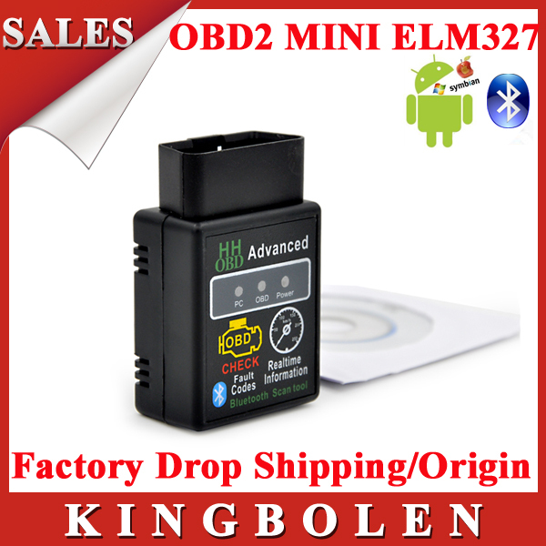 New Arrival HH OBD2 MINI ELM327 Torque Android Bluetooth OBDII CAN BUS Engine HH 327 Bluetooth Auto Scanner ECU Code Reader(China (Mainland))