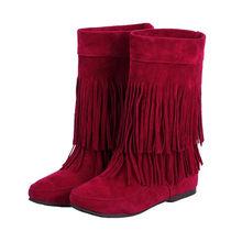 MLJUESE 2018 kadın yarım çizmeler sonbahar bahar tarzı yuvarlak ayak kahverengi renk püskül yüksekliği artan yarım çizmeler kadın boyutu 32-43(China)