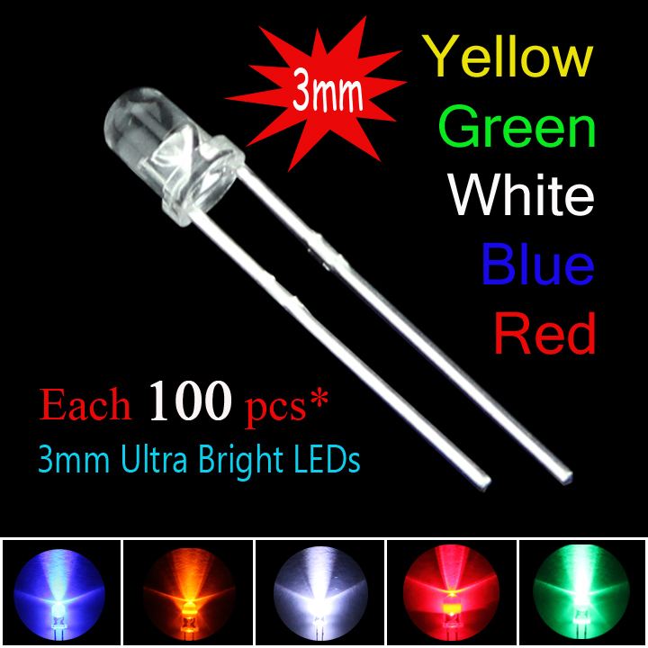 500pcs/lot 3mm New Round water clear Red/ Green/Blue/Yellow/White Water Clear LED Light Lamp combination packaging kit(China (Mainland))