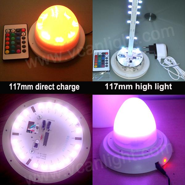 5PCS Fast Free Shipping RGB Cordless Wireless Waterproof LED flower pot light kit(China (Mainland))