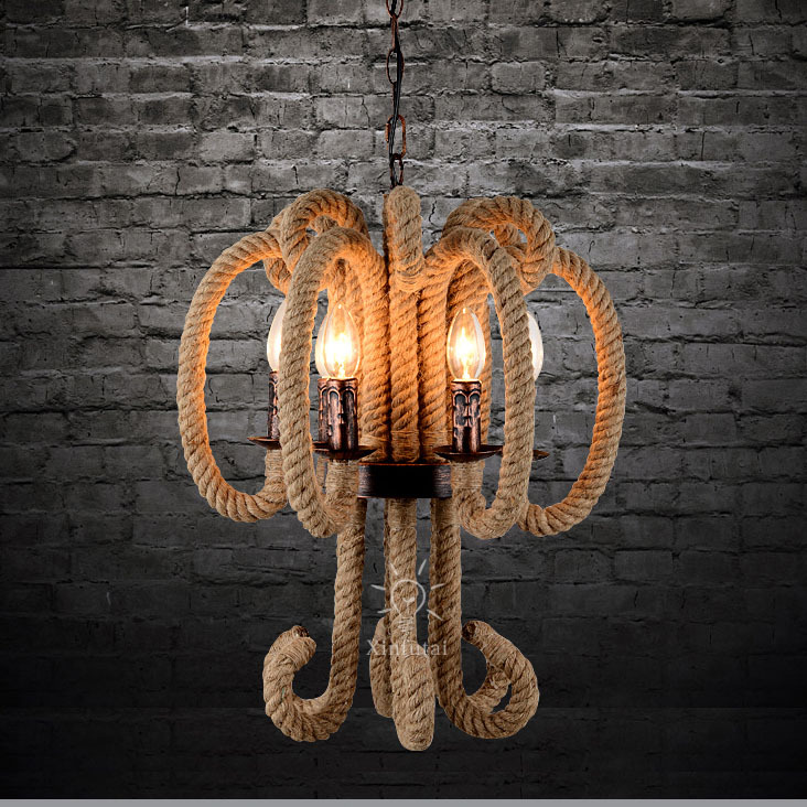 Antique chain pendant lights E14*6 40W bulbs no lampshade hemp rope covered lamp holder European style pendant lamps(China (Mainland))